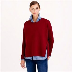 J. Crew Collection Red Wool Bonded Zip Sweater